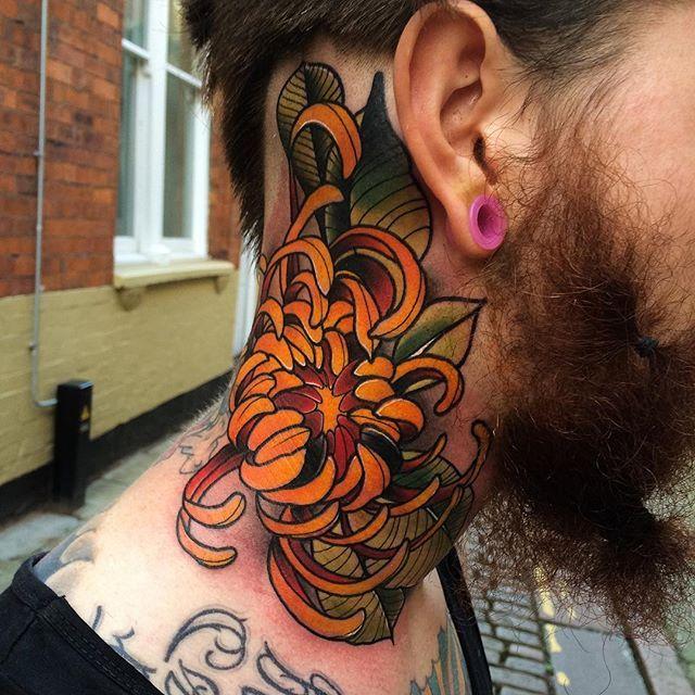Chrysanthemum Tattoo Art Igdaily Necktattoo Chrisanthemum