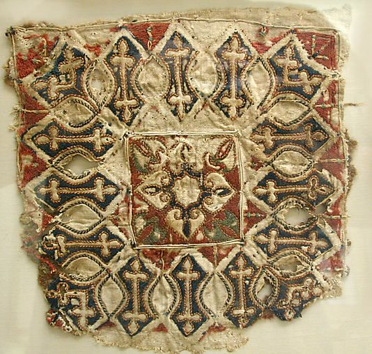 Fragment Object Name: Fragment Date: 13th–15th century Geography: Egypt Medium: Linen and wool Dimensions: H: 7 3/4 in. (19.7 cm) W: 8 in. (20.3 cm) Classification: Textiles-Embroidered Accession Number: 27.170.77