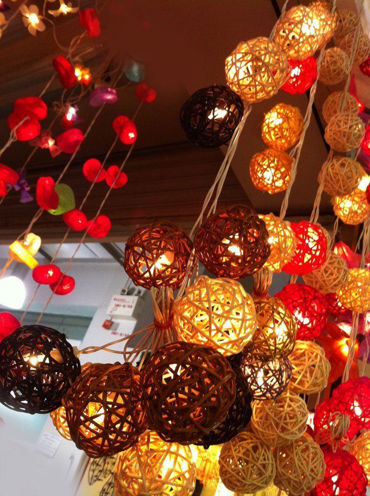 2 Set of Lighting String 20 Rattan Balls Lights Set Hanging Lamp