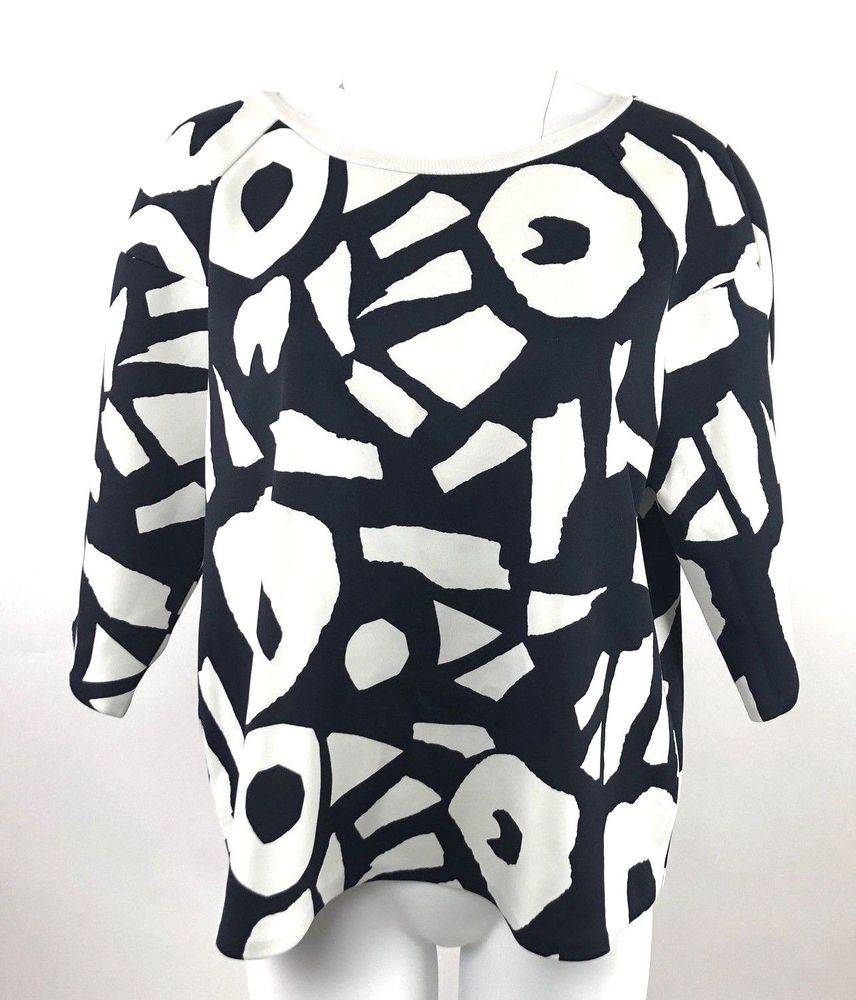 b1a4a34a7a3aa LOFT Ann Taylor Boxy Style Pull over Top Size XL Large Black Off white  Print  LOFTAnnTaylor  Blouse  Casualcareer