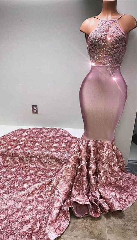 Glamorous Halter Mermaid Pink 2019 Prom Dress Lace With 3d Floral