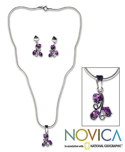 Novica Amethyst 'Mystical Blooms' Jewelry Set