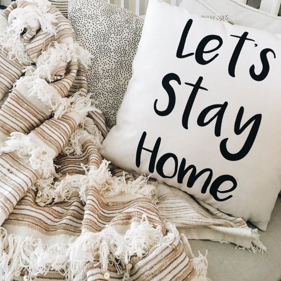 Lets Stay Home~ This listing is for one 18x18 inch pillow case (pillow insert NOT included). These luxurious velveteen pillow cases are printed and sewn by hand in Canada. All purchases are made to order so please allow at least 2 weeks (business days) for production and shipping. (If purchasing outside of Canada, customs can hold your shipment for processing, therefor exact shipping dates can not be guaranteed.)  Product features:  18x18 inch pillow case  Front and back of pillow are made…