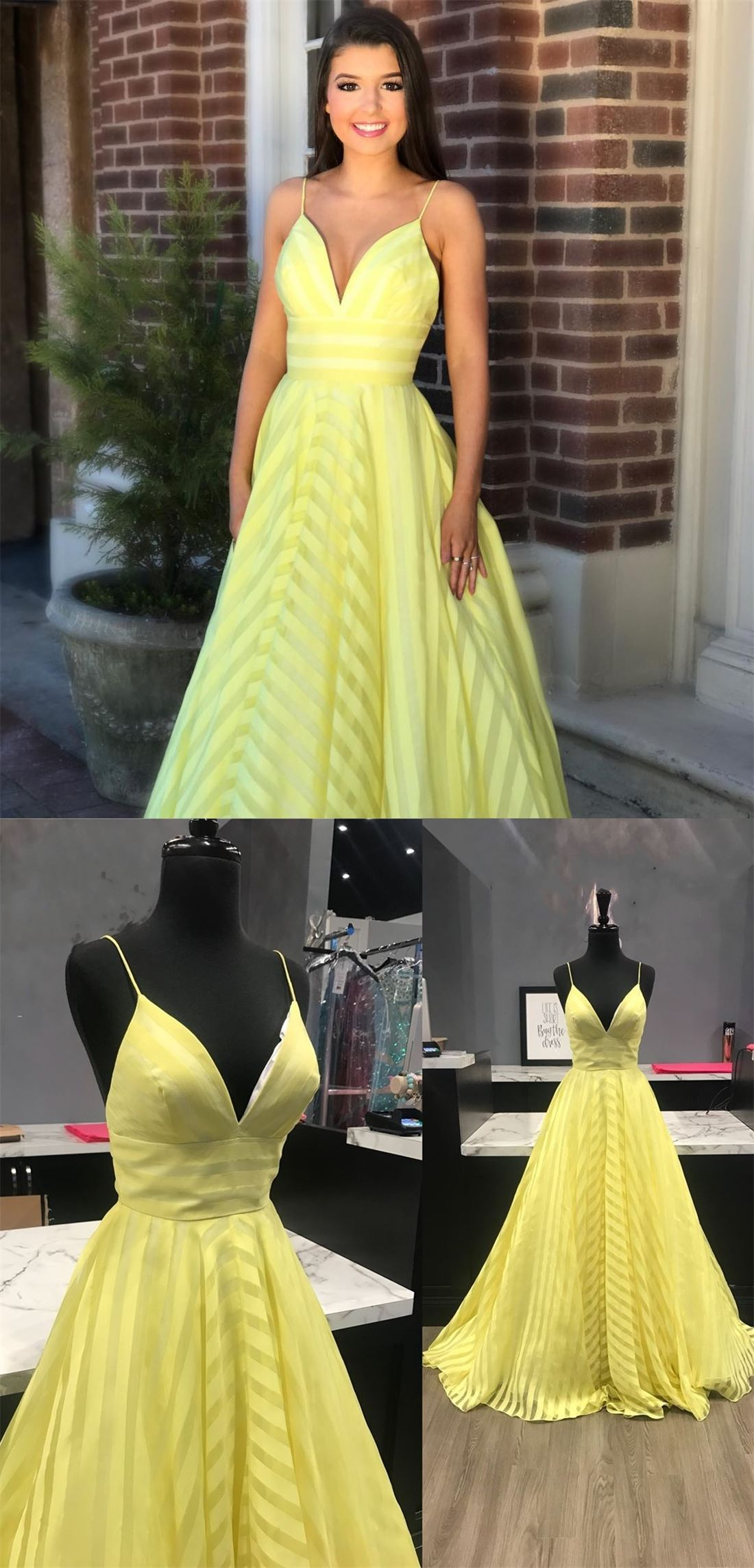 b8107626a31 A-Line Spaghetti Straps Yellow Elastic Satin Prom Dress