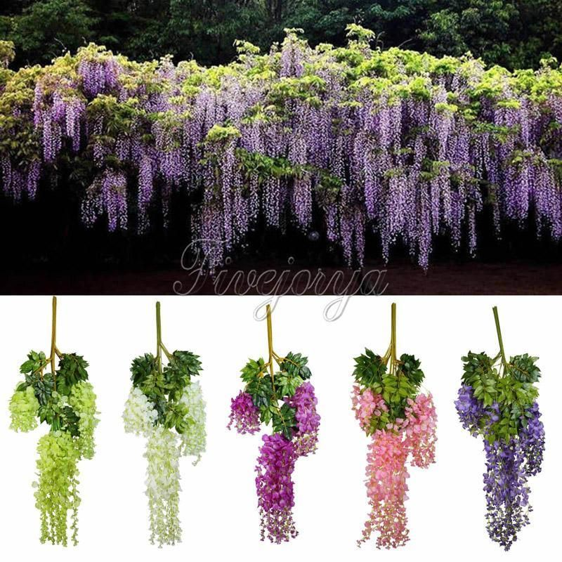 Type Decorative Flowers Wreaths Flower Vine Rattan Brand Name Vlovelife Style Flower Occasion Wedding Model N Wisteria Plant Fake Flowers Hanging Flowers
