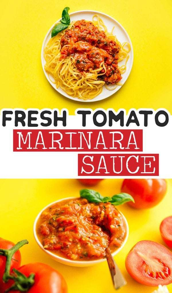 This homemade marinara sauce recipe is made ultrasimply with fresh tomatoes garlic and herbs No cans here just easy flavor packed tomato sauce Perfect as an easy dinner i...
