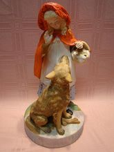 Large Porcelain Figurine Representing Little Red Riding Hood and Wolf