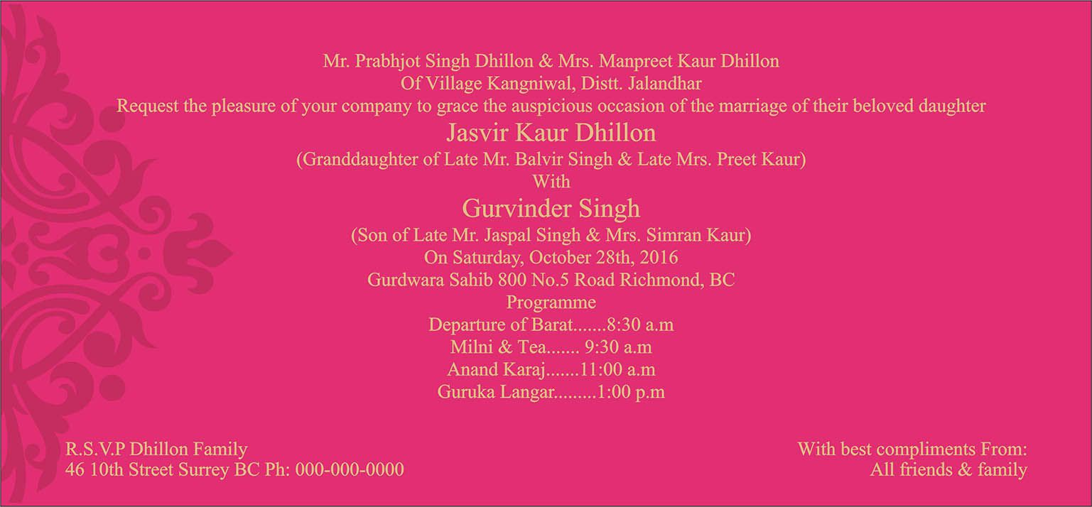Wedding Invitation Wording For Sikh Wedding Ceremony Sikh Wedding