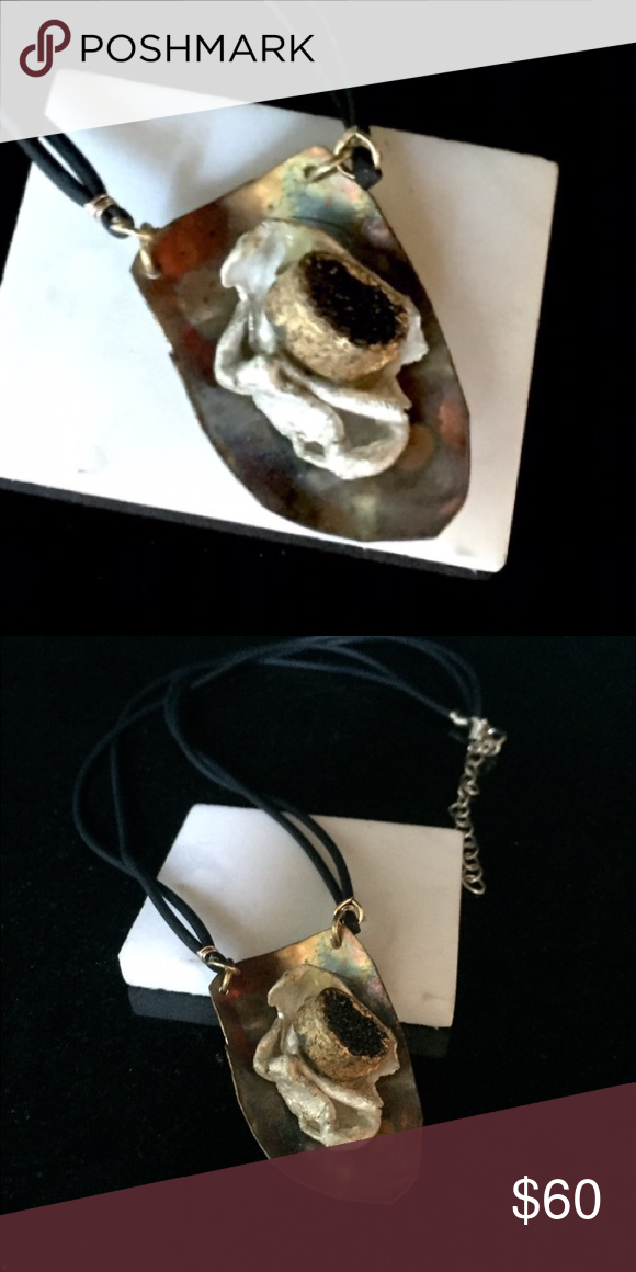 """🙋🏻🍾💍Large pendant on black satin cord. Druzy, copper, brass, Sterling silver 18"""" double cord Bella and Emma Jewelry Jewelry Necklaces"""