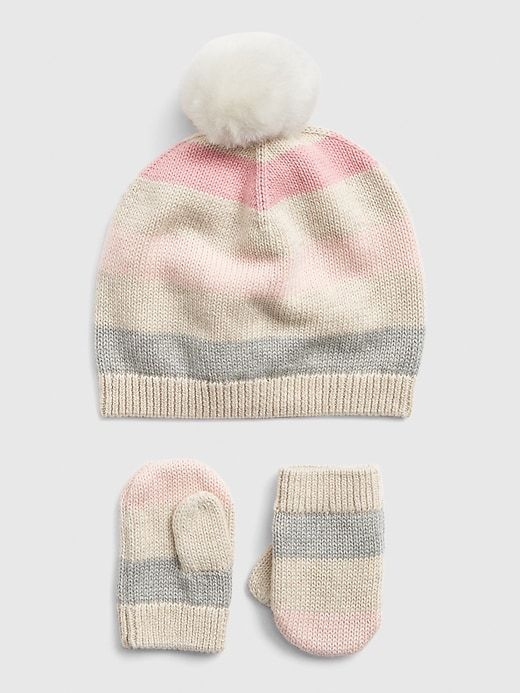 Gap Baby Stripe Beanie Mitten Set Oatmeal Products