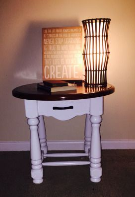 DIY BROWN AND WHITE END TABLE RENO