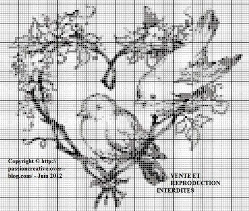 Grille gratuite point de croix oiseaux coeur pdc oiseaux pinterest grille point de - Point de croix grilles gratuites ...