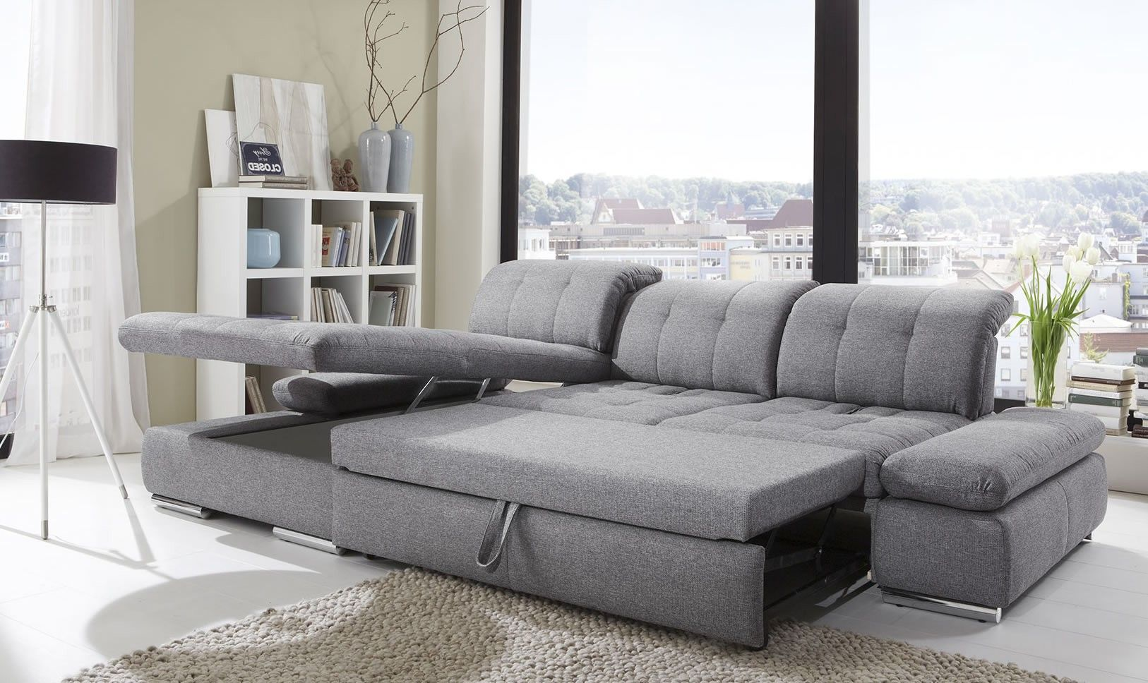 Modern Leather Sectional Sleeper Sofa White Curved Couches ...
