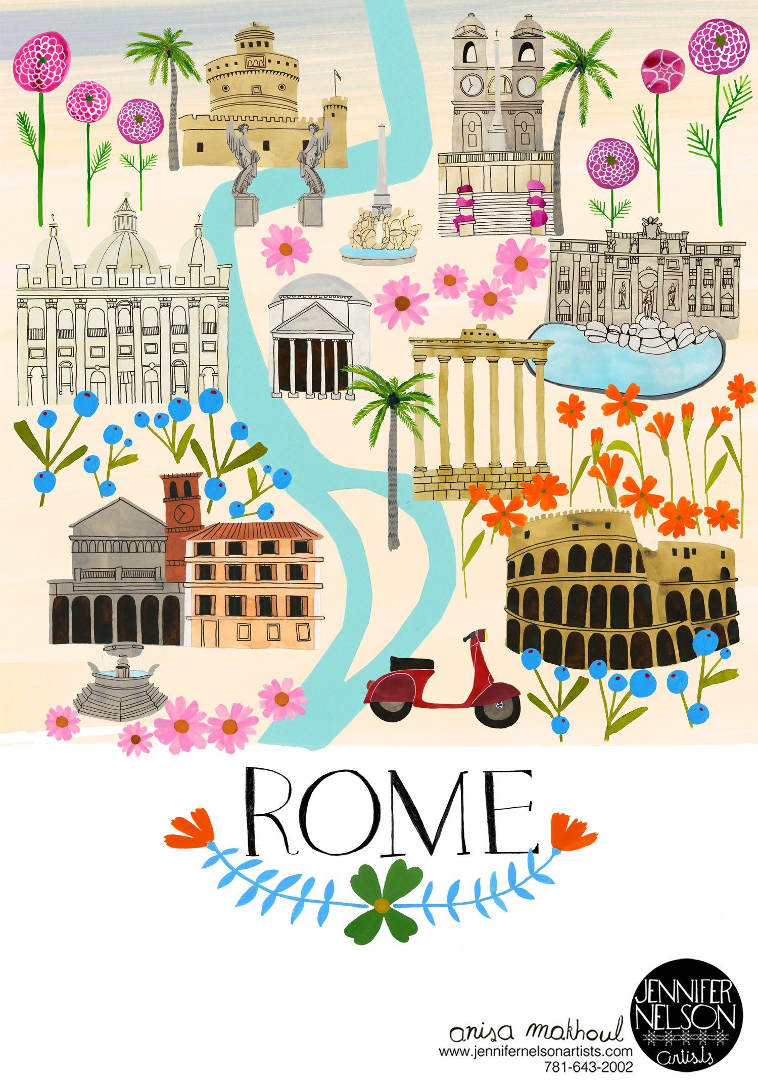 Meet In Roma This Summa Artwork Anisa Makhoul Anisa Makhoul - Rome map cartoon
