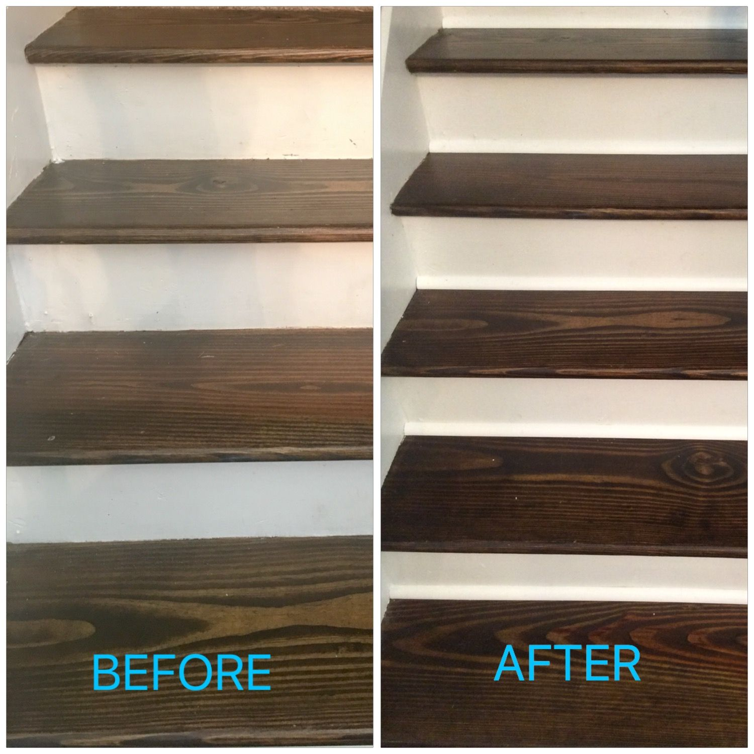 Before After Added Quarter Round To Base Of Each Stair Stairs Trim Diy Home Improvement Home Improvement