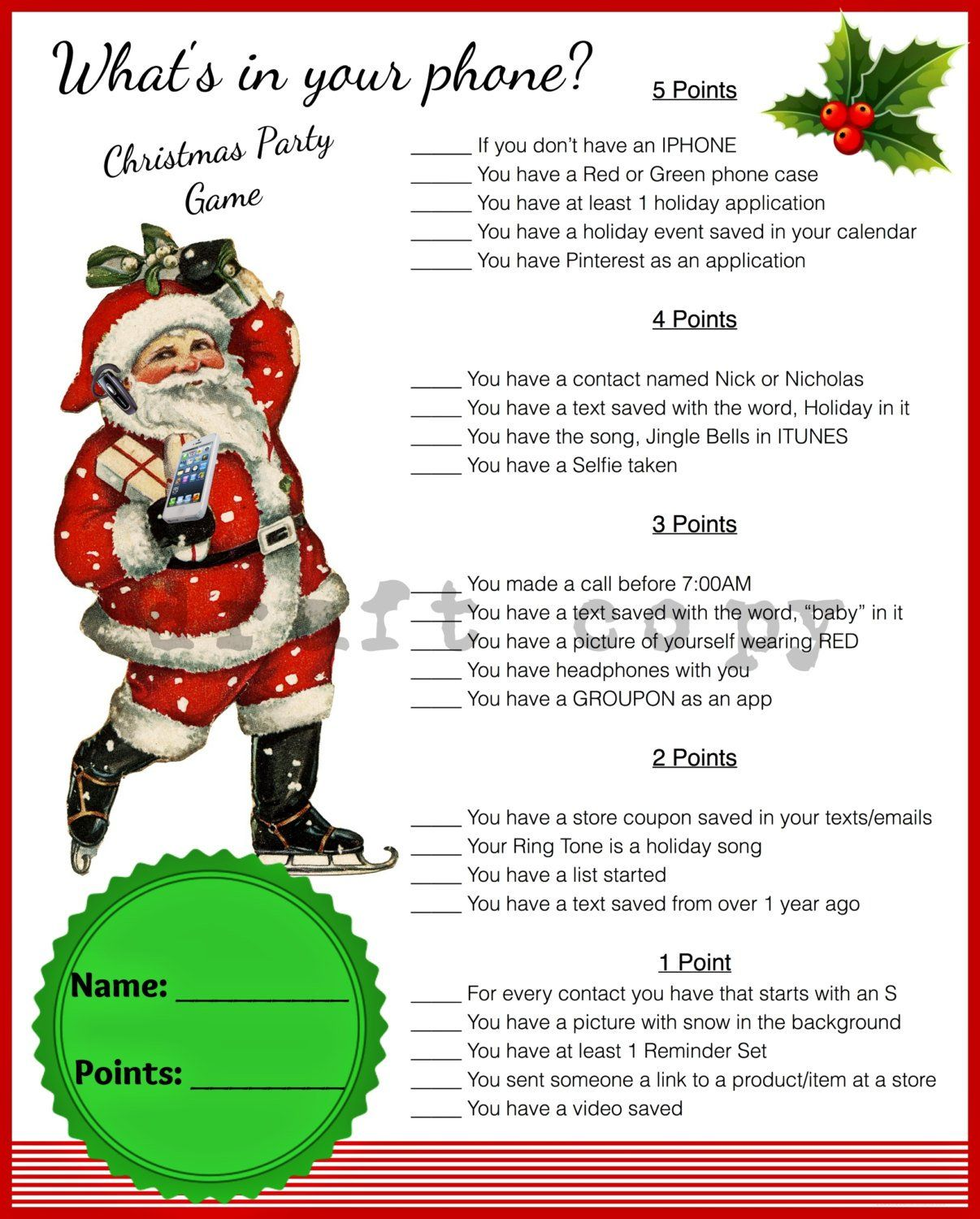 Christmas GameWhats in your phoneInstant Download Etsy