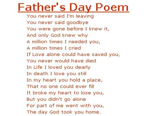 Tribute To Father Quotes: Father Poems: Sad Fathers Day Poem