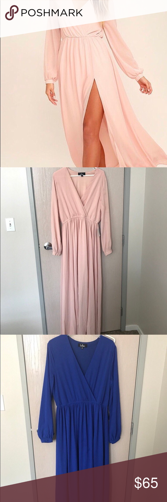 Lulus wedding guest dresses   long sleeve deep v dress one pink one blue This dress is perfect
