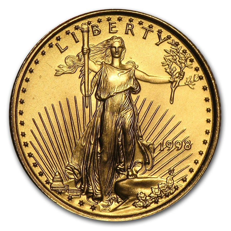 1998 1 10 Oz Gold American Eagle Bu Gold Bullion Coins Gold American Eagle Eagle Coin