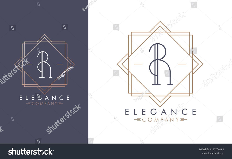 Elegant vector R logo in two color variations  Art Deco