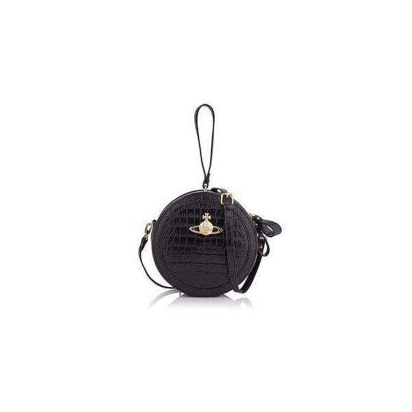 Vivienne Westwood Jungle Croc Circle Clutch Bag (£255) ❤ liked on Polyvore featuring bags, handbags, clutches, black, circle purse, black structured handbag, croco handbags, vivienne westwood handbags and black croc handbag