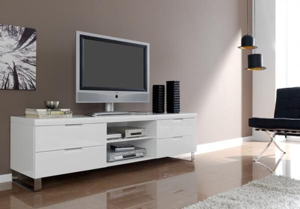 White High Gloss Tv Unit With Drawers