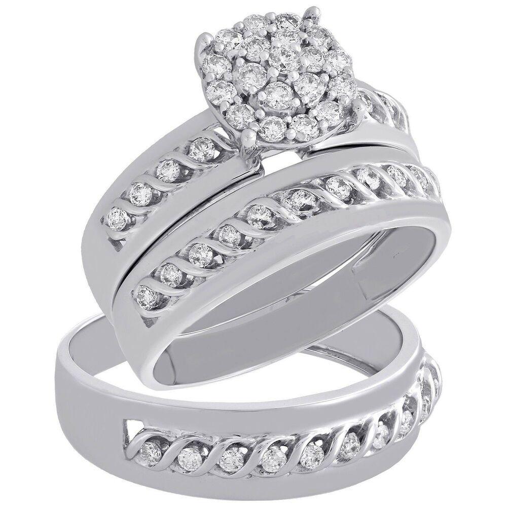 14K White Gold Finish His & Hers Round Diamond Engagement