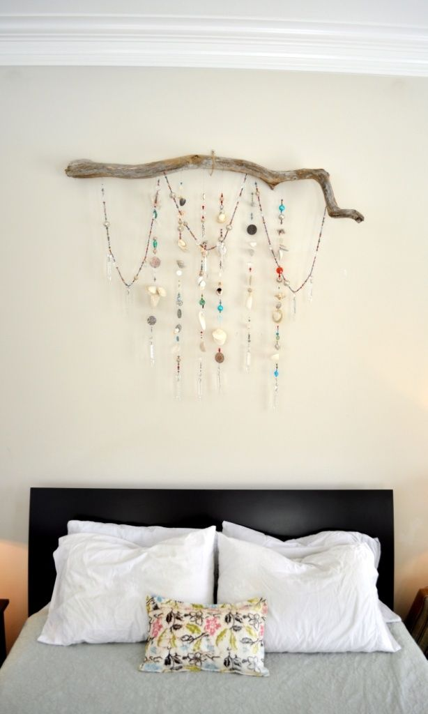 Bedroom Sparkle   Wall Hanging Made From Strands Of Beads, Seashells,  Chandelier Prisms, Buttons, U0026 Pieces Of Jewelry Hanging From A Driftwood  Branch. ...