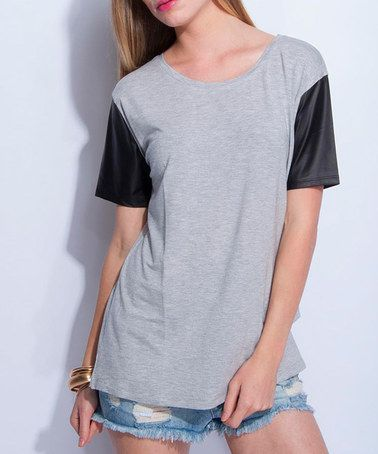 Gray Mélange & Black Faux Leather-Sleeve Tee #zulily #zulilyfinds