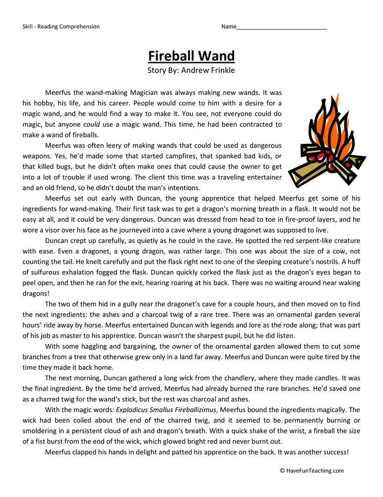 Fireball Wand Fifth Grade Reading Comprehension Worksheet | reading ...