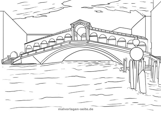 malvorlage rialto brücke italien in 2020 mit bildern