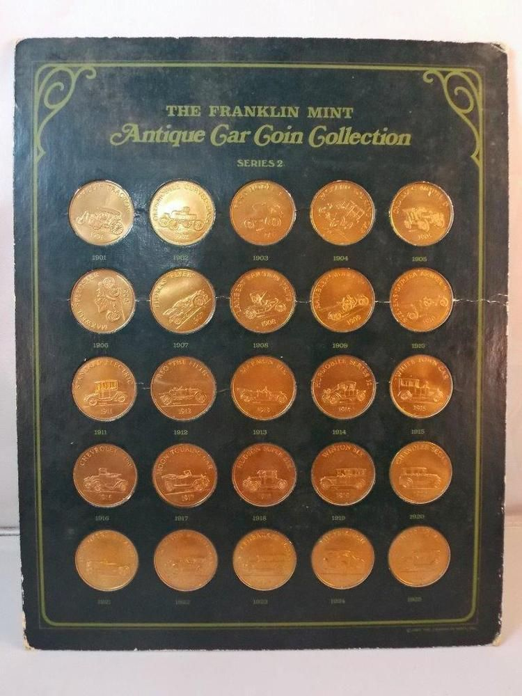 Franklin Mint Antique Car Coin Collection Series 2 1901 To 1925 Bronze Sold