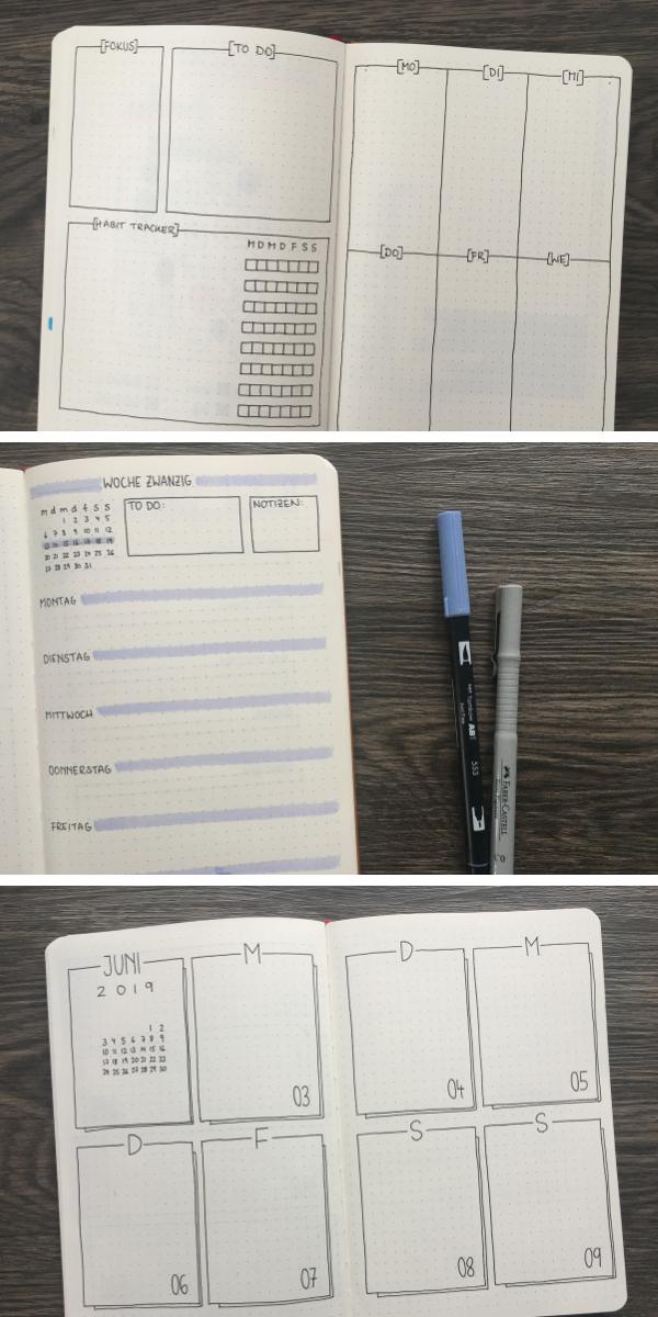 13 minimalistische Wochenübersichten für dein Bullet Journal | Punktkariert
