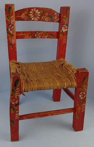 Vintage Primitive Red Hand Painted Child S Chair Mexican