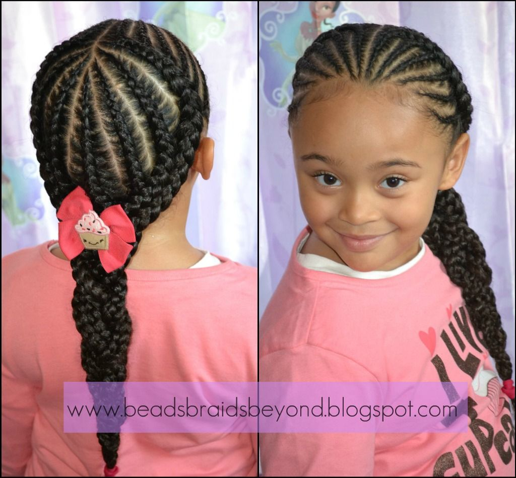 Awesome Were Back In Style Small Cornrows Into Large Cornrows Little Natural Hairstyles Runnerswayorg