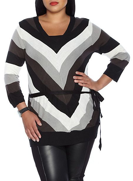 Plus-Size Knit Sweater With Belt