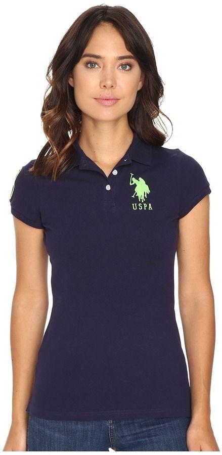 U.S POLO ASSN Womens Neon Logos Short Sleeve Polo Shirt