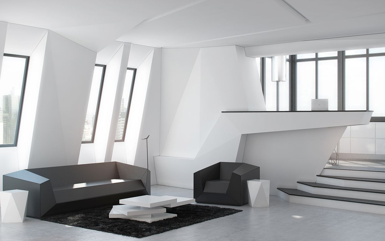 studio apartment design inspiration with futuristic interior style