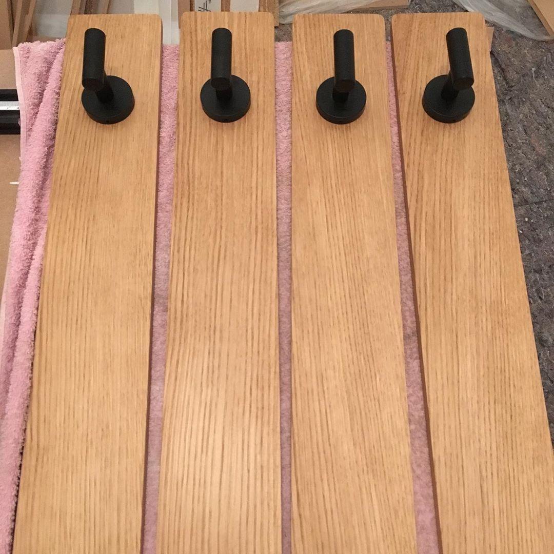 Custom Coat Hangers Made From A Single Oak Board Finishing Oil