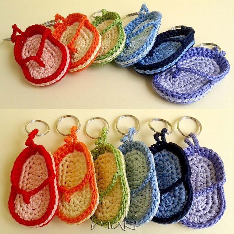 Crochet pattern Key chain flip-flop | Free crochet, Key chains and ...