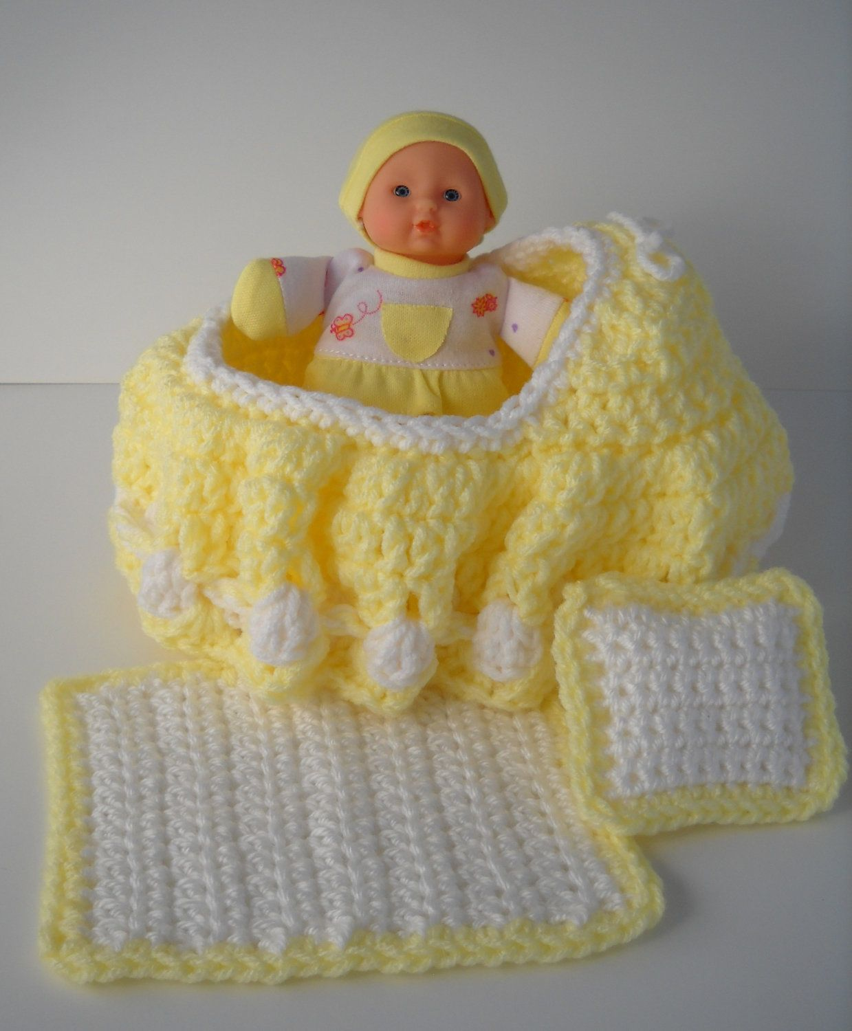 Etsy $15.00 Yellow Cradle Purse, Baby doll, Blanket and Pillow ...