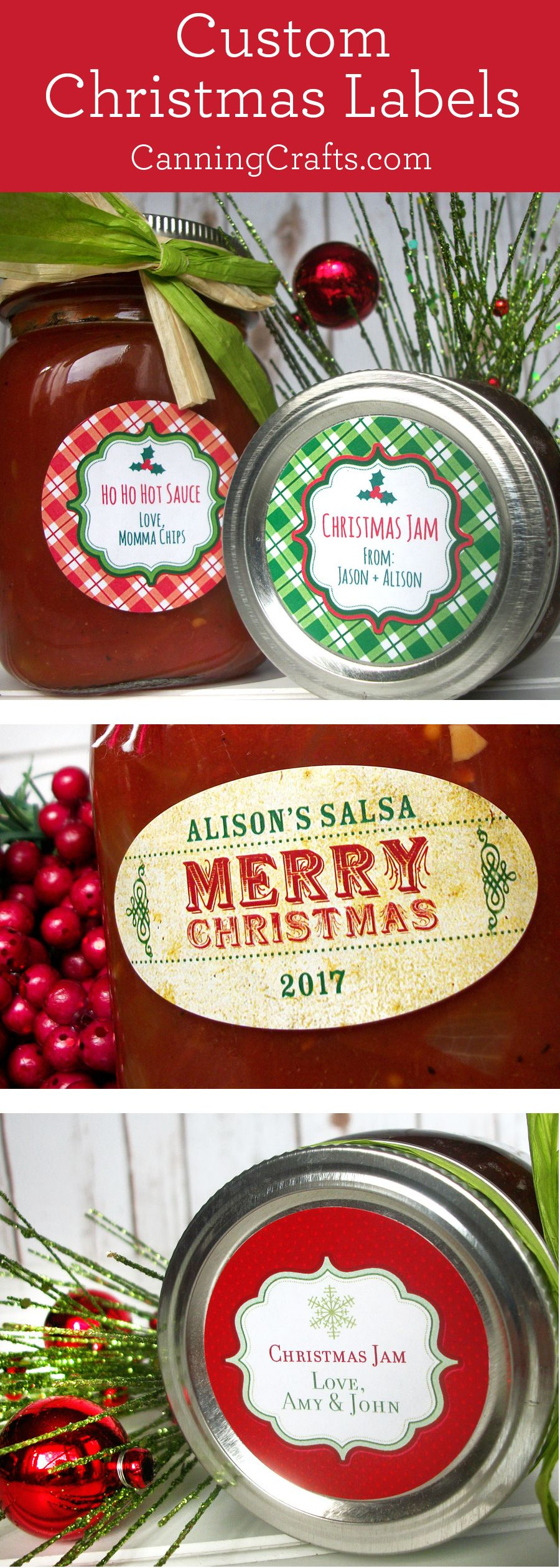Custom Christmas Canning Jar Labels Stickers For Home Preserved Food In Mason Jars Canningcrafts Com Christmas Canning Labels Canning Jar Labels Jar Food Gifts