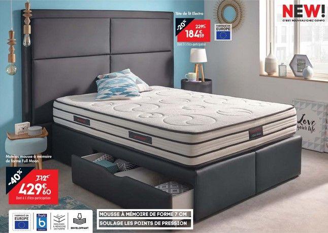 Matelas Mousse 140x190 cm NIGHTITUDE FULL MOON - Conforama - chambres a coucher conforama