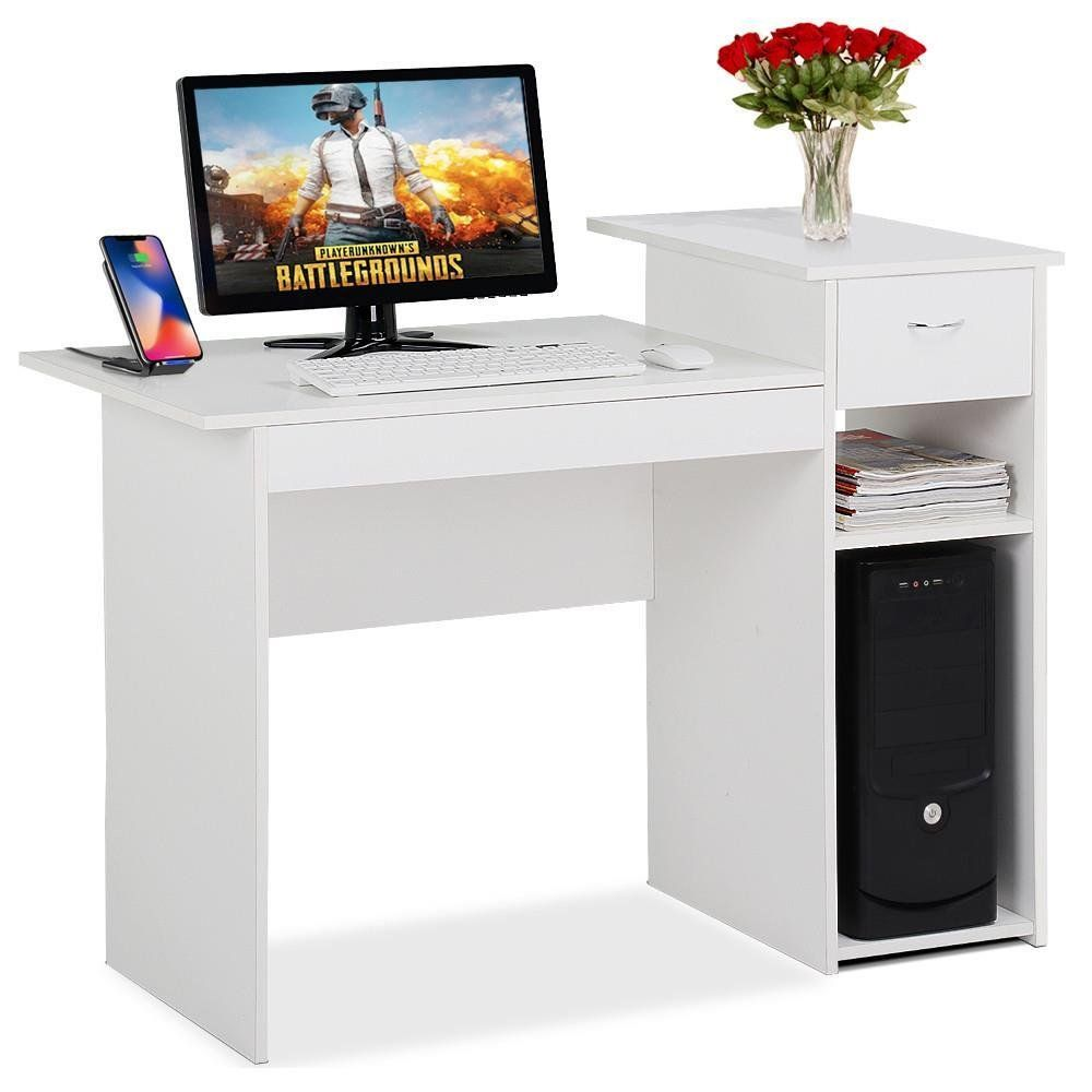 Topeakmart White Compact Computer Desk With Drawer And Shelf Small Spaces Home Office Furniture White Computer Desk Small Office Furniture Small Office Desk