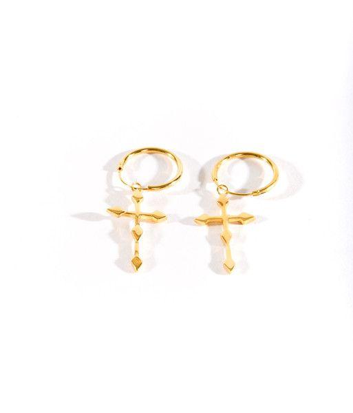 Crucifix Earrings Gold