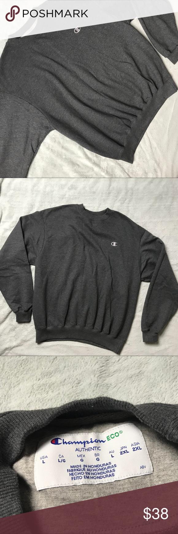 Champion Eco Fleece Crewneck Minimal Sweatshrit High Waisted Denim Crew Neck Sweatshirt Champion Tops [ 1740 x 580 Pixel ]