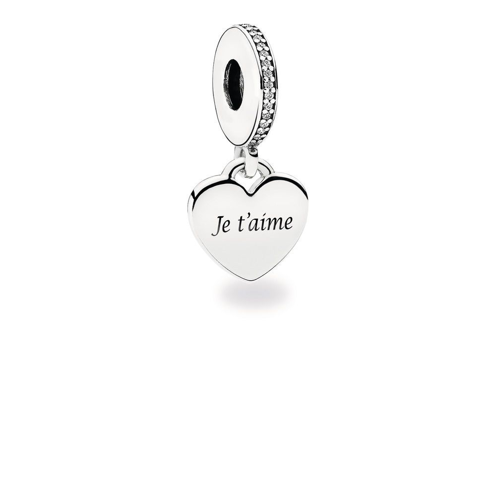 Charm Je t'aime, Argent 925/1000ᵉ, Oxyde de zirconium – Boutique ...