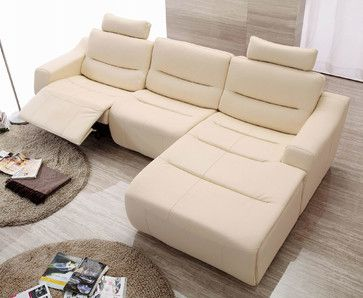 Cream Italian Leather Sectional Sofa Set With Recliner Chair