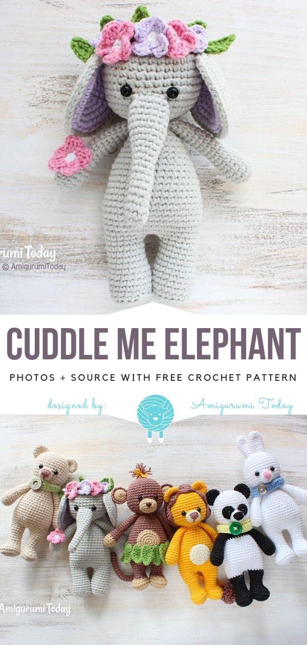 Cuddle Me Elephant Free Crochet Pattern - Crochet Ideas #amigurumidoll