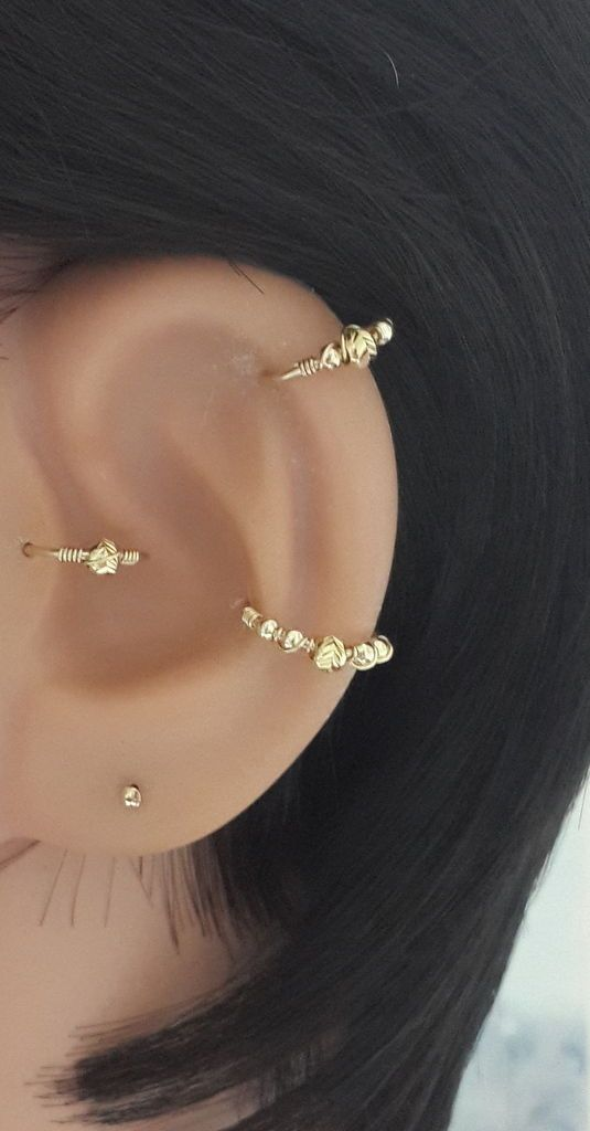 Gold Cartilage Earring Beaded Helix Filled Hoop 16 22 Gauge